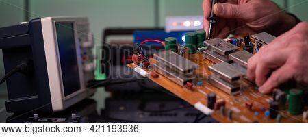 PCB witch microcontroller in electronics laboratory