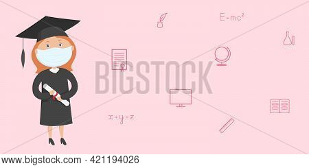 Graduate Student Girl In Mask Hold Diploma. Post-secondary Education During Quarantine. Vector.