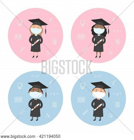 Graduate Students In Masks And Mortarboards. Icon Set. Vector.