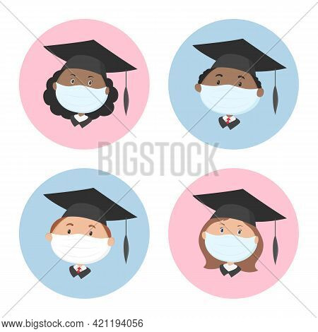 Graduate Students In Protective Masks And Mortarboards. Icon Set. Vector.