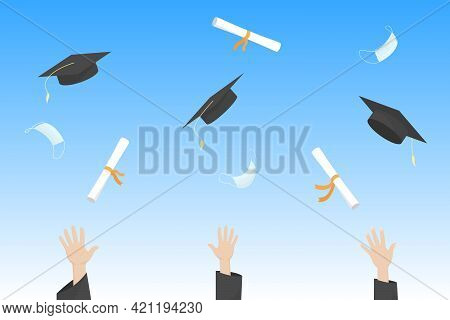 Students Throw Mortarboards, Diplomas And Medical Masks Into Air. Graduation Ceremony. Vector Illust