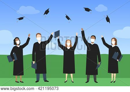 Graduate Students In Medical Masks Rejoice And Throw Mortarboards. Vector Illustration.
