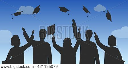 Graduate Students In Rejoice And Throw Mortarboards. Vector Illustration.
