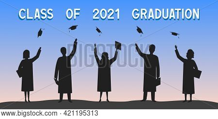 Class Of 2021 Graduation. Students Throw Mortarboards. Vector Illustration.