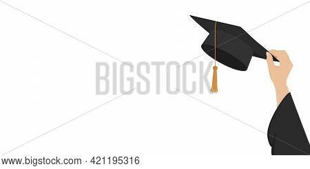 Higher Education Poster With Copy Space. Hand Hold Mortarboard. Vector Illustration.