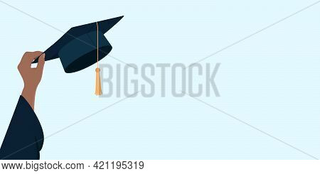 Post-secondary Education Poster With Copy Space. Hand Hold Mortarboard. Vector Illustration.
