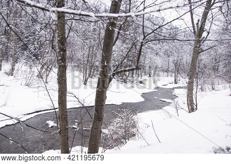 Winter Landscape, Peaceful Changeable Landscape Of Forest And River. Winter River In Snow Forest Lan