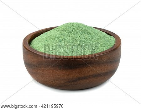 Japan Green Tea Flavor Powder Drink With Wooden Bowl Isolated On White Background