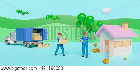 Courier Man And Cargo Box With Truck And Home At Countryside In Blue Composition ,delivery Service B