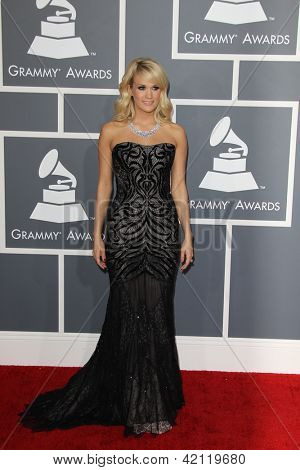 LOS ANGELES - FEB 10:  Carrie Underwood arrives at the 55th Annual Grammy Awards at the Staples Center on February 10, 2013 in Los Angeles, CA