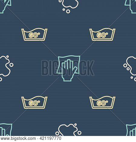 Set Line Water Spill, Temperature Wash And Cleaning Service On Seamless Pattern. Vector