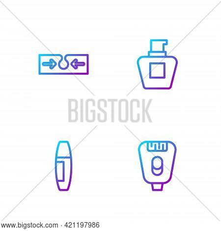 Set Line Epilator, Mascara Brush, Acne And Cream Lotion Cosmetic Tube. Gradient Color Icons. Vector