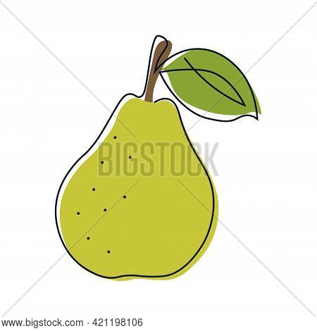 Continuous One Line Pear Vector Drawing. Abstract Minimalistic Style. Drawing A Whole Fruit With One