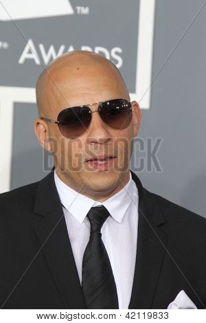 LOS ANGELES - FEB 10:  Vin Diesel arrives at the 55th Annual Grammy Awards at the Staples Center on February 10, 2013 in Los Angeles, CA