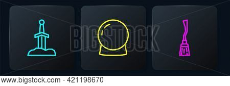 Set Line Sword In The Stone, Witches Broom And Magic Ball. Black Square Button. Vector