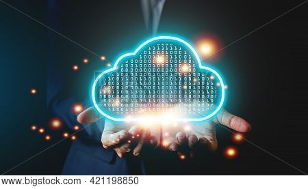 Businessman Holding Cloud Icon Computing Online Connecting To Data Analytics. Block Chain Network Te