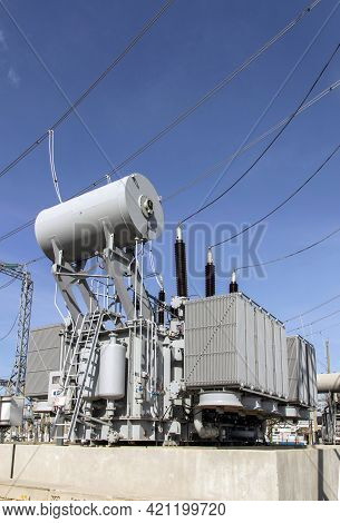 Power Transformer In A High Voltage Switchgear In A Modern Electrical Substation. General Form.