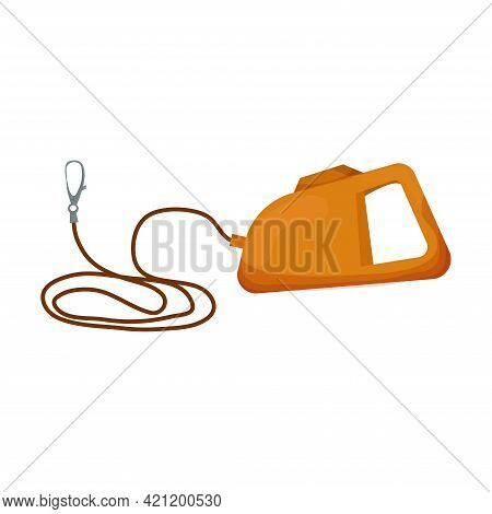 Leash For Dog In Cartoon Style Isolated On White Background. Vector Icon Of Roulette Lead For Contro
