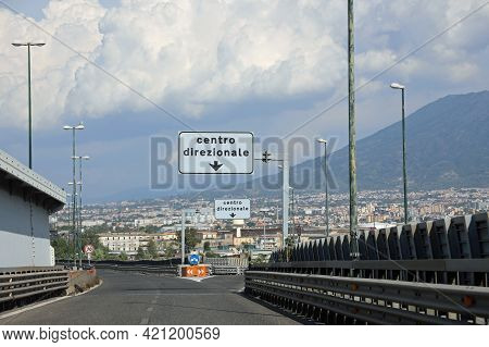 Crossroads Near  Naples In Italy With The Large Text Centro Direzionale Which Means Business Center