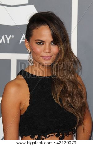 LOS ANGELES - FEB 10:  Chrissy Teigen arrives at the 55th Annual Grammy Awards at the Staples Center on February 10, 2013 in Los Angeles, CA