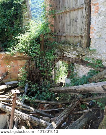 Wooden Planks And Rubble Of The House Destroyed After A Terrible Earthquake That Razed Many Houses T