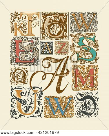 Vector Set Of Ornate Initial Letters With Baroque Ornaments. Hand-drawn Vintage Capital Letters On A