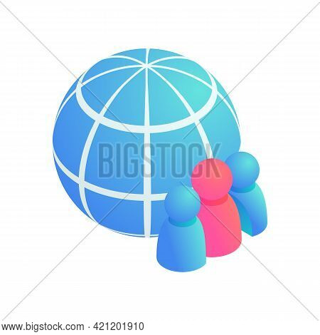 Globe People, Global Teamwork Isometric Vector Icon. 3d Global Business, Social Media Network Users,