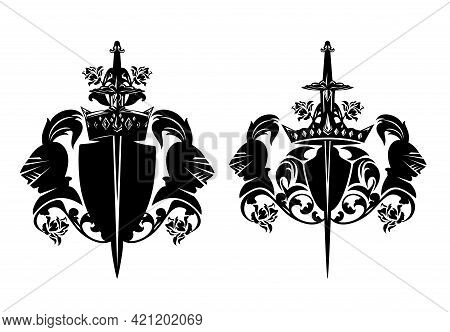 Medieval Style Royal Knight Warrior Coat Of Arms - Black And White Vector Outline Of Helmet, Sword,