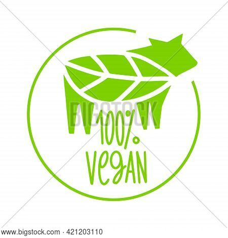 Vegan 100 Percent, Icon. Plant Based Food. Beyond Meat. Vegetarian Sign. Emblem For Packing With Ste