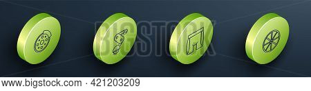 Set Isometric Line Bicycle Brake Disc, Derailleur Bicycle Rear, Cycling Shorts And Wheel Icon. Vecto