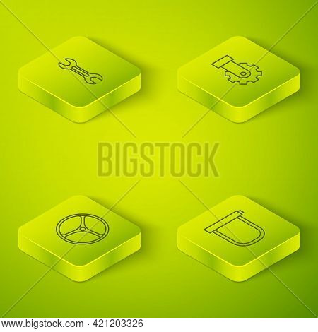 Set Isometric Line Derailleur Bicycle Rear, Bicycle Wheel, Lock And Wrench Spanner Icon. Vector