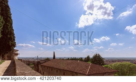 View From The Castle To The Perspective Of Brescia City. Lombardy, Italy