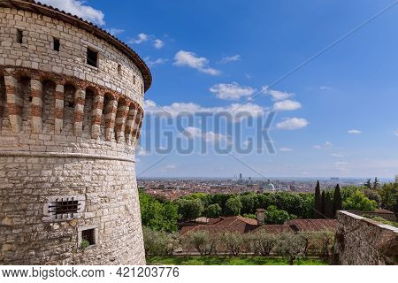 Beautiful View From The Castle To The Historical And Business Center Of Brescia City. Lombardy, Ital