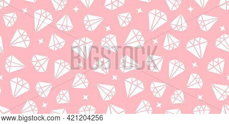 Girly Diamonds Seamless Pattern. Vector White Geometric Illustration On A Cute Pink Background. Mode