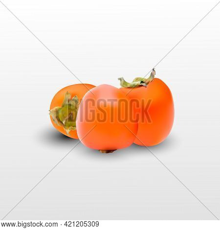 Pair Of Ripe Persimmon Fruits Isolated On Transparent Background. Two Whole Persimmons