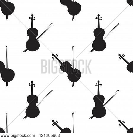 Seamless Pattern Of Violins On White Background, Icon Classical Musical Instruments, Vector Illustra