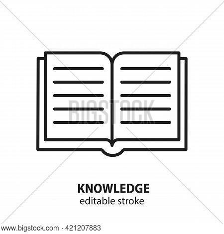 Book Flat Line Icon. Literature, Reading, Publishing. Knowledge Vector Symbol. Editable Stroke.