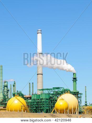 Oil refinery belching smoke