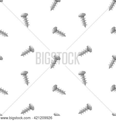 Seamless Pattern With Screws. Small Screws On A White Background