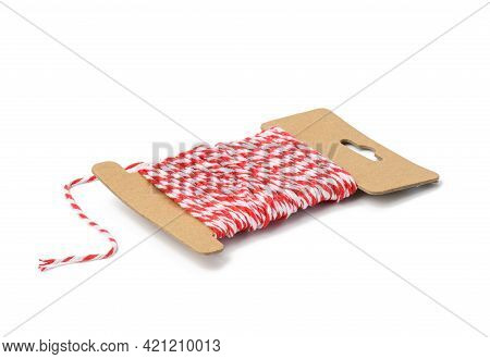 Skein Of Red Culinary Thread Isolated On White Background, Close Up