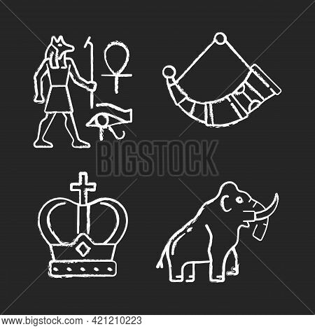 Ancestors Heritage Chalk White Icons Set On Black Background. Egyptian Wall Drawings. Drinking Horns