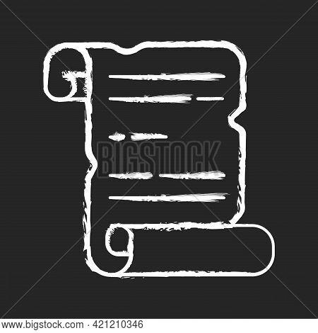 Ancient Manuscripts Chalk White Icon On Black Background. Papyrus, Parchment Scroll. Handwritten Com
