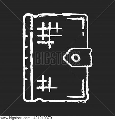 Ancient Book Chalk White Icon On Black Background. Old Religious Texts. Storing Thoughts, Theories,