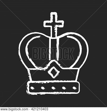 Royal Crown Chalk White Icon On Black Background. Head Adornment For Monarchs. Royal Family Jewels.