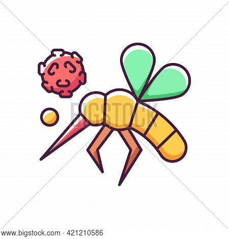 Insects Rgb Color Icon. Dangerous Poisonous Bugs Spread Illnesses And Diseases. Blood Infection. Bio