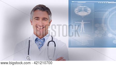 Health doctor smiling and looking at the camera wearing white blouse. white background concept. digitally generated image.