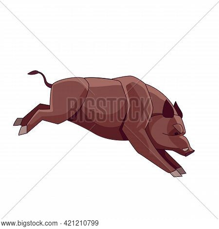 Running Wild Boar. Cartoon Character Of A Angry Mammal Animal. A Wild Forest Creature With Brown Fur