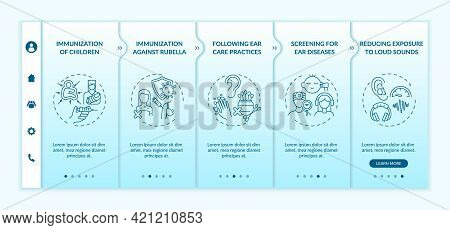Hearing Loss Preventive Measures Onboarding Vector Template. Responsive Mobile Website With Icons. W
