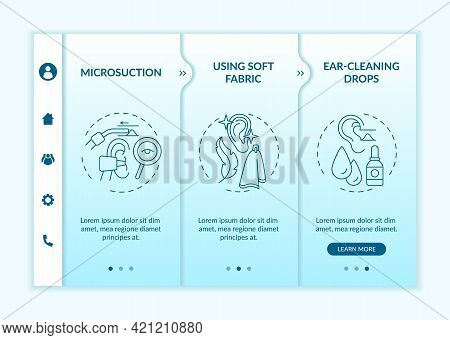 Ear Cleanliness Methods Onboarding Vector Template. Responsive Mobile Website With Icons. Web Page W