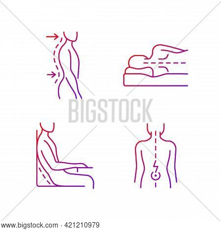 Postural Dysfunction Gradient Linear Vector Icons Set. Lumbar Lordosis. Side-lying Sleeping Position